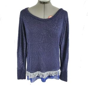 Gibson navy blue sparkle sweater with fringe